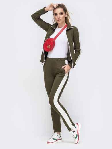Спортивный костюм с лампасами из кофты и брюк хаки 41980, фото 4