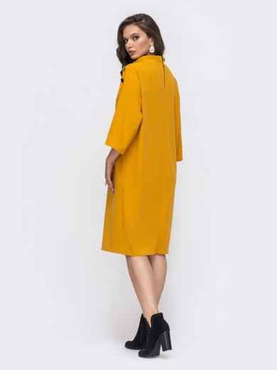 Свободное платье-миди большого размера желтое 51523, фото 2