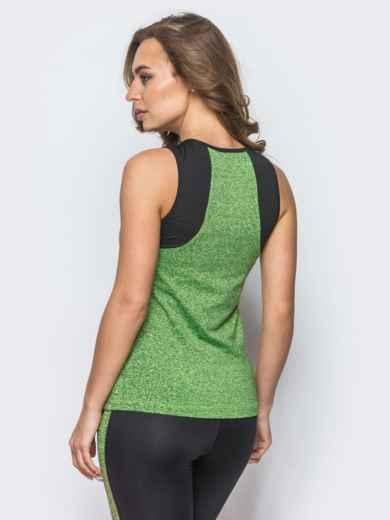 Зелёная майка с контрастной кокеткой - 12822, фото 3 – интернет-магазин Dressa