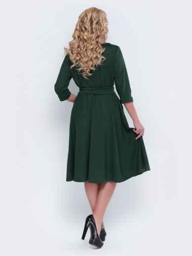 Зелёное платье с фиксированным запахом и расклешенной юбкой - 19121, фото 2 – интернет-магазин Dressa