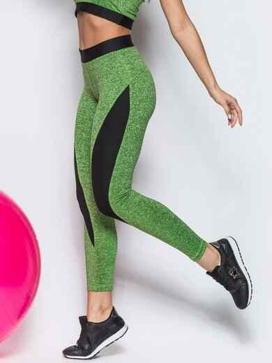 Зелёные лосины с черными вставками - 12812, фото 1 – интернет-магазин Dressa