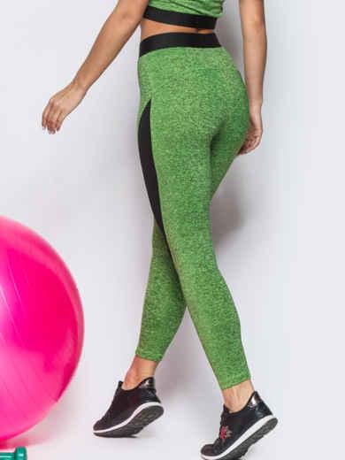Зелёные лосины с черными вставками - 12812, фото 2 – интернет-магазин Dressa