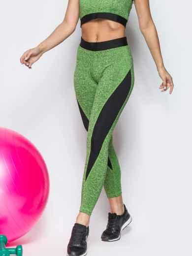 Зелёные лосины с черными вставками - 12812, фото 3 – интернет-магазин Dressa