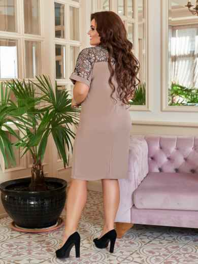 Бежевое платье-футляр большого размера 47174, фото 2