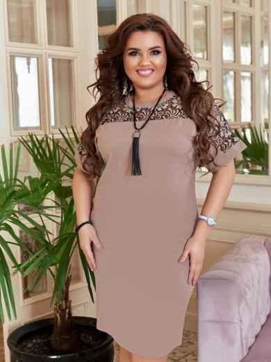 Бежевое платье-футляр большого размера 47174, фото 3