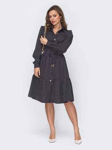 Черное платье-рубашка из софта в горох 53540, фото 1