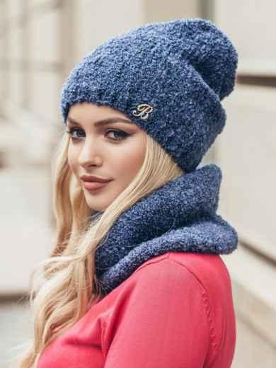 Комплект из хомута и шапки с нитью букле синий - 15512, фото 4 – интернет-магазин Dressa