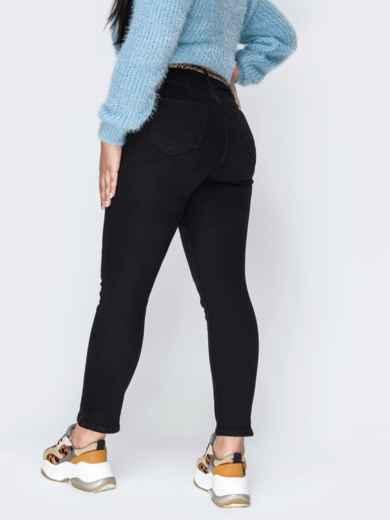 Осенние джинсы чёрного цвета с завышенной талией - 42453, фото 2 – интернет-магазин Dressa