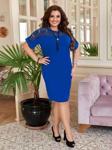 Синее платье-футляр большого размера 47175, фото 1