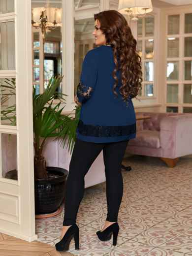 Тёмно-синий комплект батал с брюками на резинке 47104, фото 2