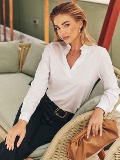 Белая блузка с длинным рукавом и V-образным вырезом 54359, фото 1