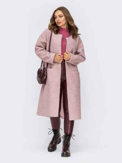 Розовое пальто из букле без застежек и подкладки 55275, фото 1