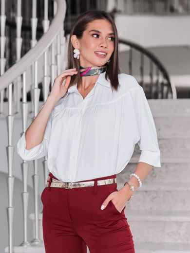 Белая блузка свободного кроя - 40081, фото 2 – интернет-магазин Dressa