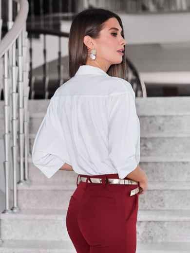 Белая блузка свободного кроя - 40081, фото 3 – интернет-магазин Dressa
