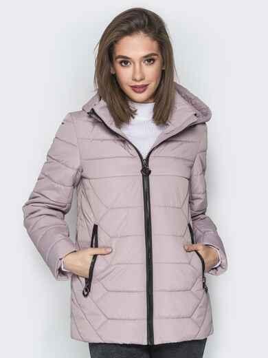 Бежевая куртка со съёмным капюшоном и карманами на молнии - 20299, фото 1 – интернет-магазин Dressa