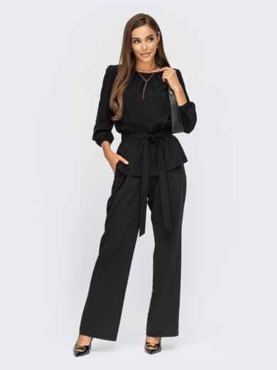 Брючный костюм с блузкой из хлопка черный 54863, фото 1