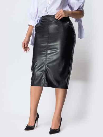 Чёрная юбка большого размера из эко-кожи 44437, фото 1