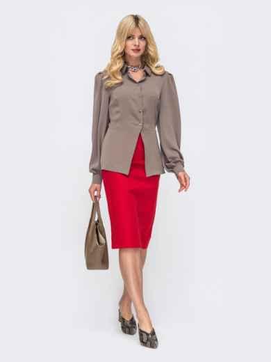 Комплект цвета хаки из блузки с баской и юбки 50136, фото 1
