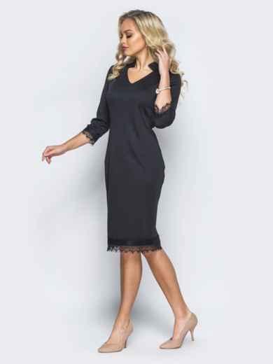 Платье черного цвета с кружевными вставками - 16124, фото 3 – интернет-магазин Dressa