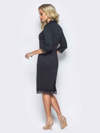 Платье черного цвета с кружевными вставками - 16124, фото 4 – интернет-магазин Dressa