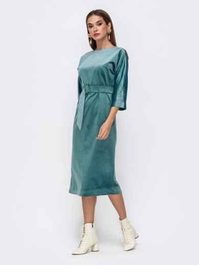Платье из бархата с пуговицами по спинке бирюзовое - 41756, фото 2 – интернет-магазин Dressa