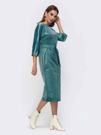 Платье из бархата с пуговицами по спинке бирюзовое - 41756, фото 3 – интернет-магазин Dressa