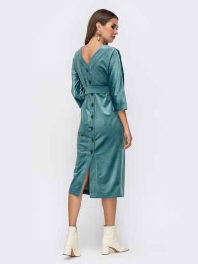 Платье из бархата с пуговицами по спинке бирюзовое - 41756, фото 4 – интернет-магазин Dressa