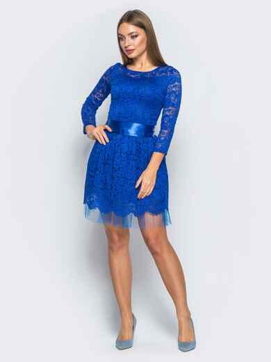 Платье из гипюра с пышной юбкой синее - 18149, фото 1 – интернет-магазин Dressa