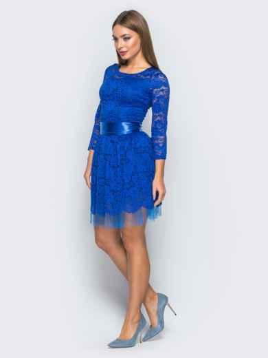 Платье из гипюра с пышной юбкой синее - 18149, фото 2 – интернет-магазин Dressa