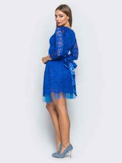 Платье из гипюра с пышной юбкой синее - 18149, фото 3 – интернет-магазин Dressa