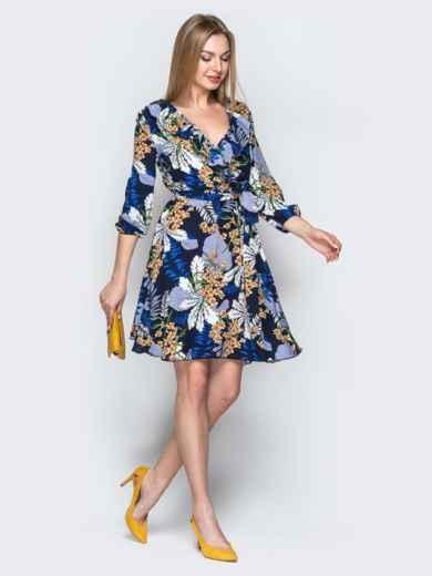 Принтованное платье синего цвета с фиксированным запахом 21761, фото 2
