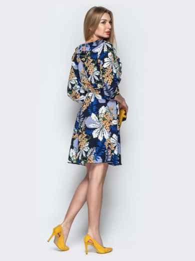 Принтованное платье синего цвета с фиксированным запахом 21761, фото 3