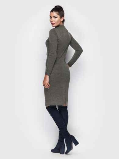 Приталенное платье цвета хаки из ангоры 22159, фото 4