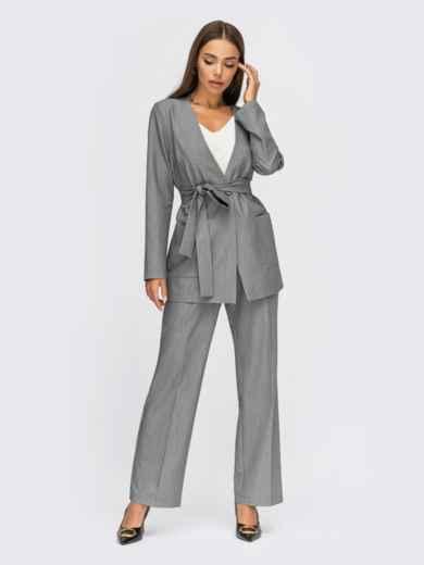 Серый брючный костюм с пиджаком на одну пуговицу 54867, фото 1
