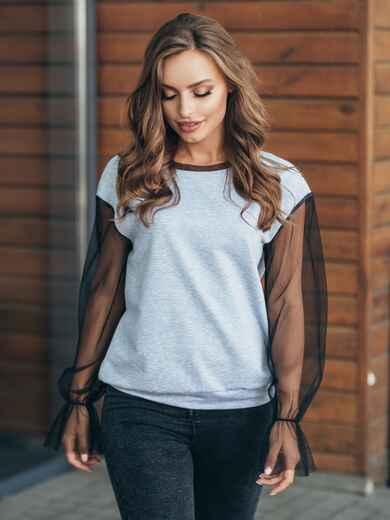 Свитшот серого цвета с рукавами из фатина - 16165, фото 1 – интернет-магазин Dressa