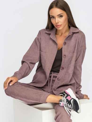 Вельветовый костюм из рубашки и брюк-джоггеров сиреневый 54865, фото 1