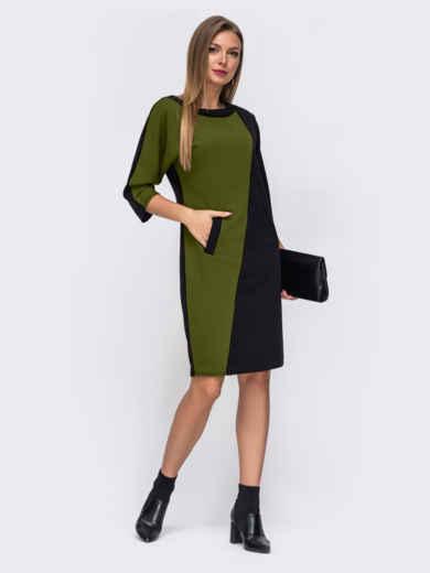 Платье с цельнокроеным рукавом цвета хаки 52322, фото 1
