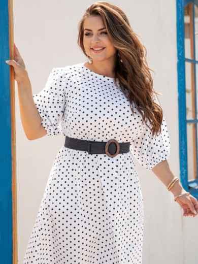 Белое платье в горох из хлопка 54399, фото 1
