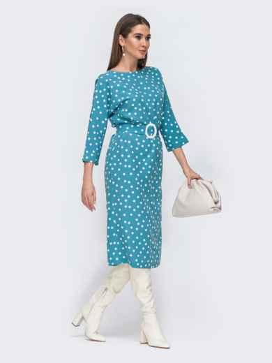 Голубое платье-миди в горох с цельнокроеным рукавом 44838, фото 2