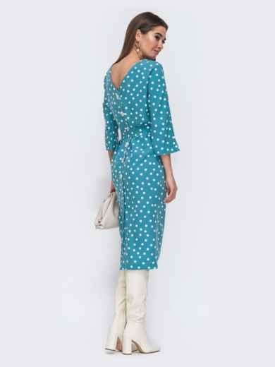 Голубое платье-миди в горох с цельнокроеным рукавом 44838, фото 3
