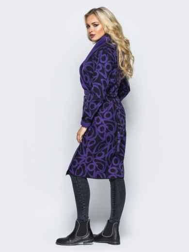 Кашемировое двухстороннее пальто со съемными карманами фиолетовое - 16588, фото 3 – интернет-магазин Dressa