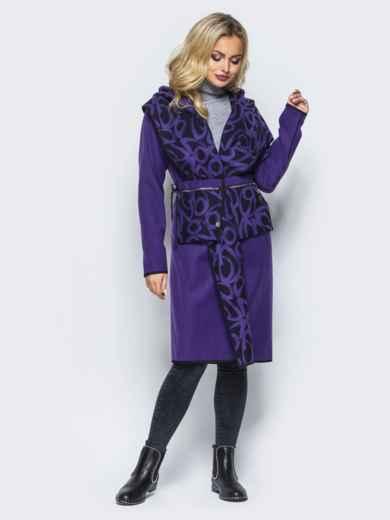 Кашемировое двухстороннее пальто со съемными карманами фиолетовое - 16588, фото 4 – интернет-магазин Dressa