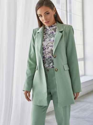 Мятный комплект с пиджаком и брюками на молнии 50467, фото 3