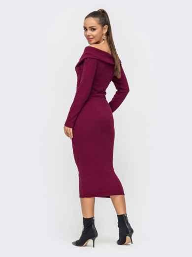 Облегающее платье с широким V-образным вырезом бордовое 51195, фото 2
