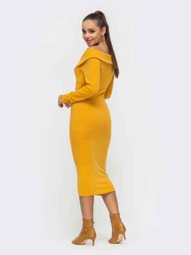 Облегающее платье с широким V-образным вырезом желтое 51194, фото 2