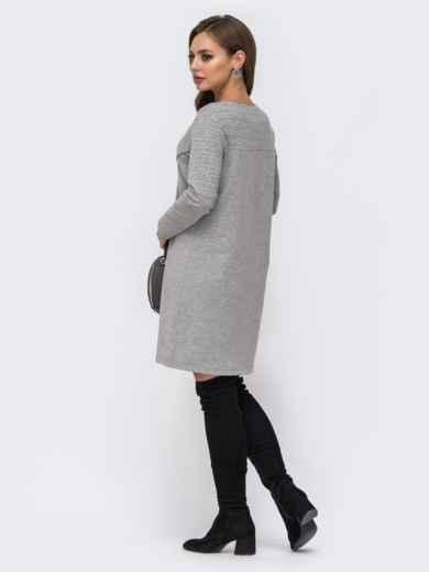Платье из двунитки с контрастной кокеткой серое 42968, фото 2