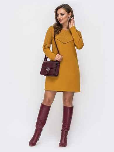Платье из двунитки с контрастной кокеткой желтое 42967, фото 1