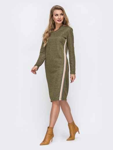 Платье из трёхнитки с карманами по бокам хаки 42965, фото 1