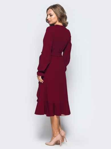 Платье с запахом бордового цвета из креп-дайвинга - 16501, фото 2 – интернет-магазин Dressa