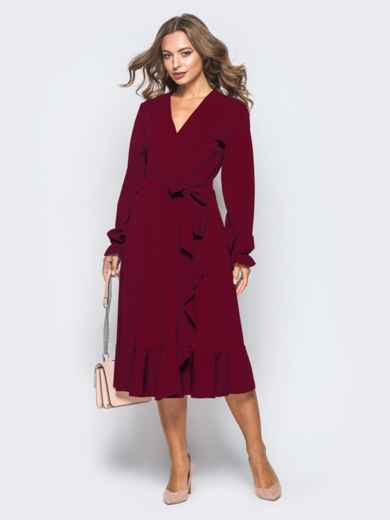 Платье с запахом бордового цвета из креп-дайвинга - 16501, фото 3 – интернет-магазин Dressa